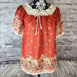 Vintage Hippie Bohemian Tops with Crochet Neckline
